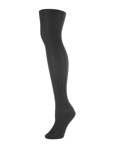 Memoi Textured Cable Sweater Tights-BLACK-Medium