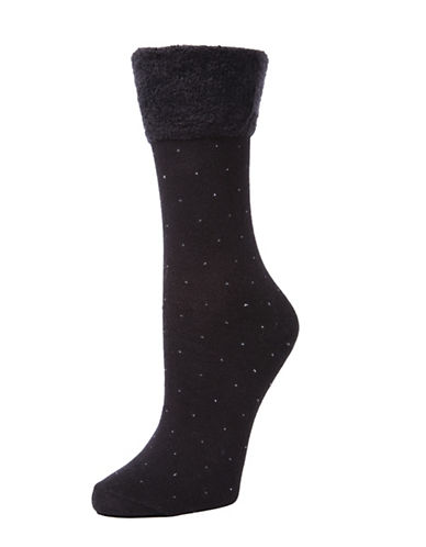 Memoi Womens Pindot Crew Socks-BLACK-One Size