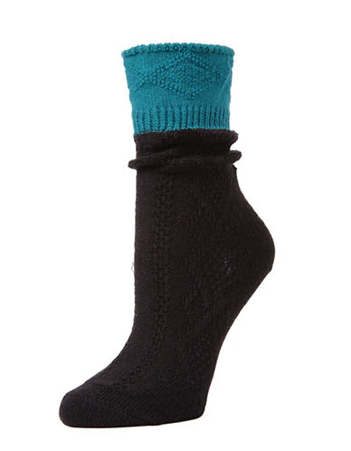 Memoi Womens Diamond Bits Scrunch Crew Socks-BLACK-One Size