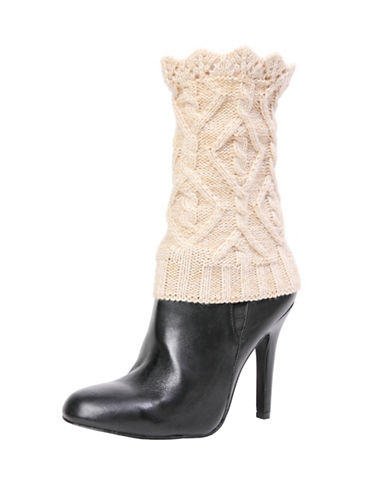 Memoi Womens Diamond Boot Topper-BEIGE-One Size