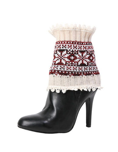 Memoi Womens Fair Isle Boot Topper-WHITE-One Size