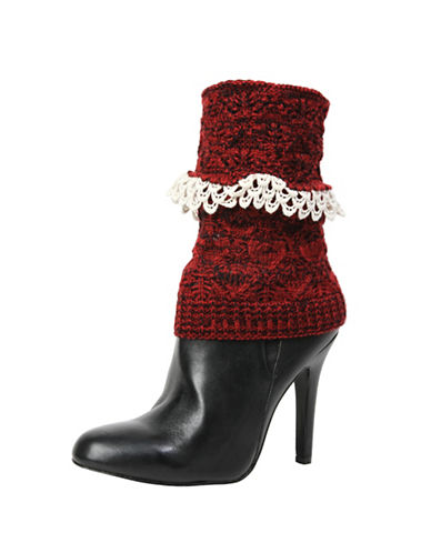 Memoi Womens Crochet Droplets Boot Topper-RED-One Size