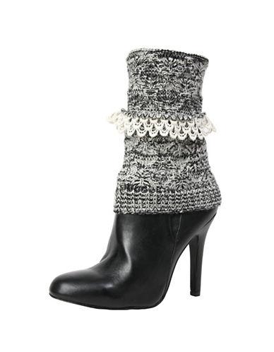 Memoi Womens Crochet Droplets Boot Topper-BLACK-One Size