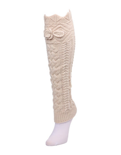 Memoi Chunky Knit Scalloped Legwarmer-WHITE-One Size