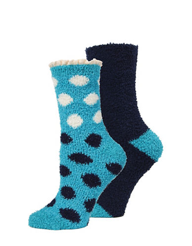 Memoi Two-Pack Marled Crew Socks Set-BLUE-One Size