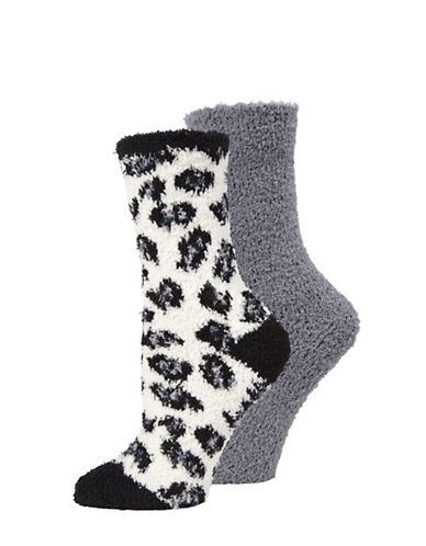 Memoi Two-Pack Marled Crew Socks Set-BLACK-One Size