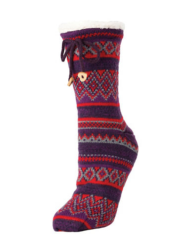 Memoi Mojave Striped Crew Socks-RED-One Size