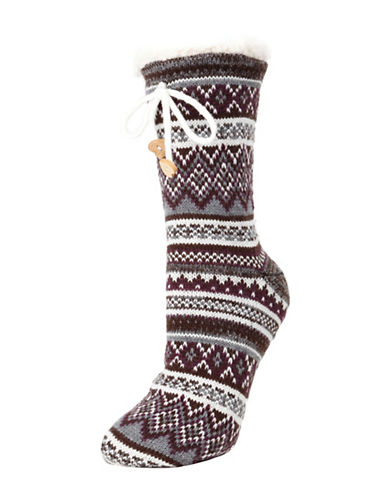 Memoi Mojave Striped Crew Socks-WHITE-One Size