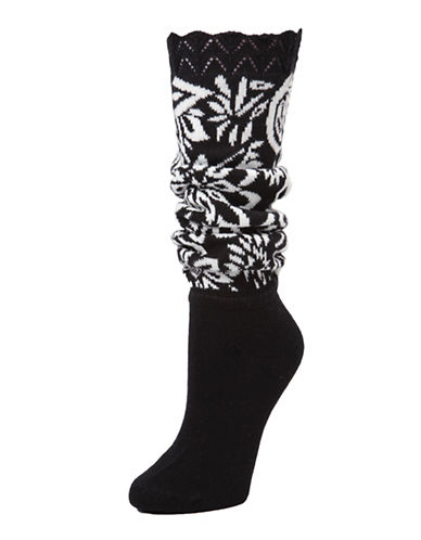 Memoi Womens Floral Lovelight Slouched Extended Crew Socks-BLACK-One Size