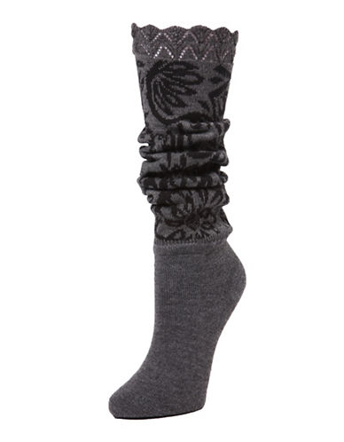 Memoi Womens Floral Lovelight Slouched Extended Crew Socks-BLACK/GREY-One Size