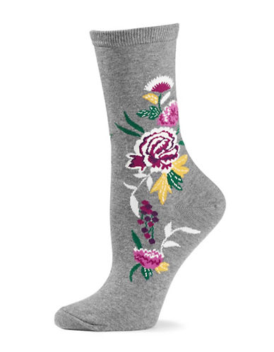 Natori Womens Midnight Garden Crew Socks-GREY-One Size