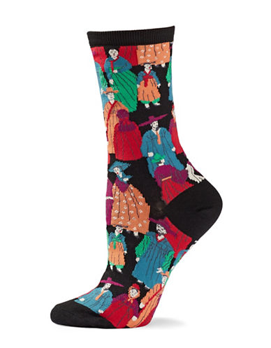 Natori Womens Dynasty Crew Socks-BLACK-One Size