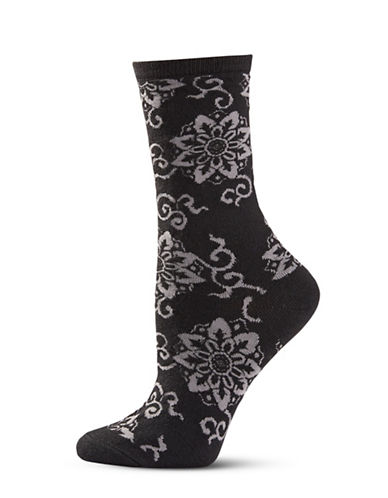 Natori Womens Medallion Wool Crew Socks-BLACK-One Size