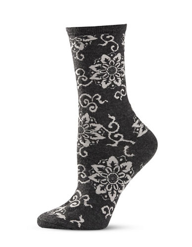 Natori Womens Medallion Wool Crew Socks-CHARCOAL-One Size