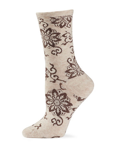 Natori Womens Medallion Wool Crew Socks-BEIGE-One Size