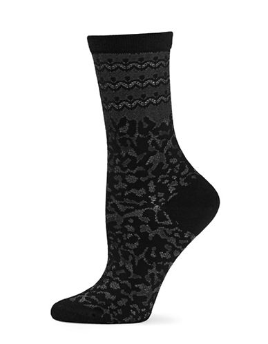 Natori Womens Dainty Crew Socks-BLACK-One Size