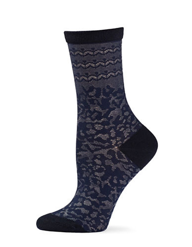 Natori Womens Dainty Crew Socks-BLUE-One Size
