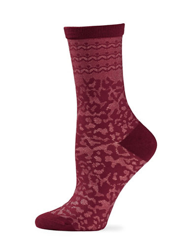 Natori Womens Dainty Crew Socks-RED-One Size