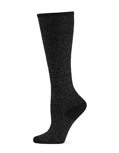 Natori Womens Magnolia Knee-High Socks-BLACK-One Size