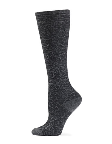 Natori Womens Magnolia Knee-High Socks-CHARCOAL-One Size