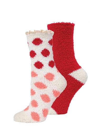 Memoi Two-Pack Marled Crew Socks Set-WHITE-One Size