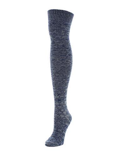 Memoi Crochet Mix Over-The-Knee Socks-BLUE-One Size
