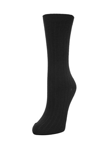 Memoi Ribbed Cashmere Crew Socks-BLACK-One Size
