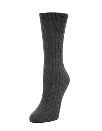 Memoi Ribbed Cashmere Crew Socks-GREY-One Size