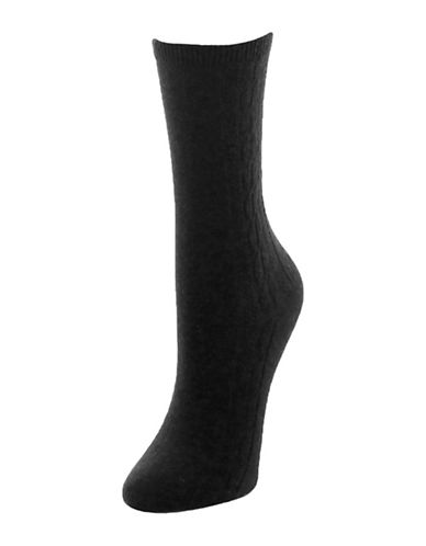 Memoi Clocking Cable Crew Socks-BLACK-One Size
