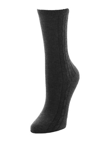Memoi Clocking Cable Crew Socks-GREY-One Size