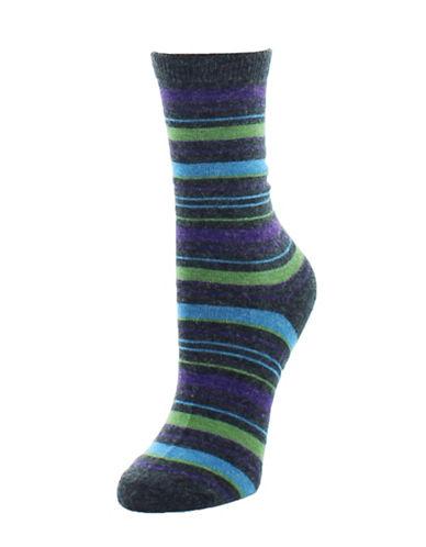 Memoi Merino Wool Color Fusion Crew Socks-BLACK-One Size