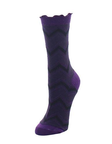 Legmogue Zig Zag Crew Socks-PURPLE-One Size