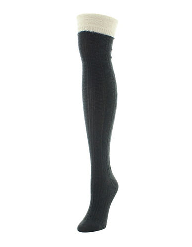 Legmogue Dot and Braid Over-The-Knee Socks-DARK GREY-One Size