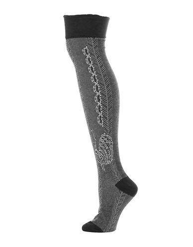 Legmogue Peacock Over-The-Knee Socks-BLACK/GREY-One Size