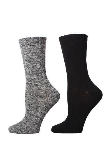 Memoi Womens Two-Piece Diamond Sparkle Crew Socks Set-BLACK-One Size