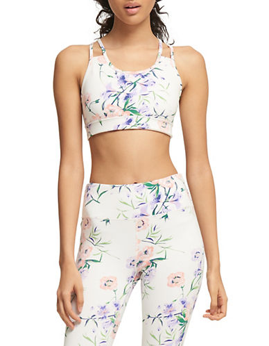 Dkny Blossom Print Sports Bra-WHITE-Medium 90073871_WHITE_Medium
