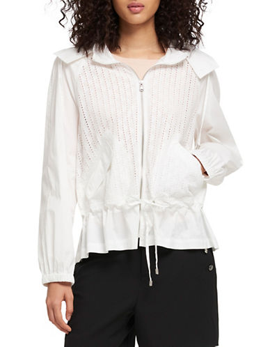 Dkny Perforated Hooded Cotton Jacket-WHITE-X-Large 90027741_WHITE_X-Large