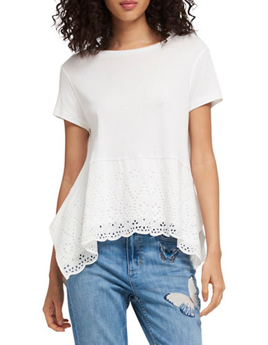 Dkny Eyelet-Trimmed Cotton Top-WHITE-X-Large 90027794_WHITE_X-Large