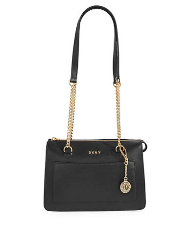 Dkny Small Zip Leather Tote-BLACK-One Size 89915672_BLACK_One Size