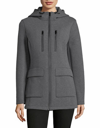 Dkny Hooded Scuba Jacket-GREY-Small