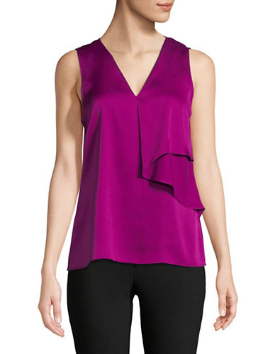 Donna Karan Sleeveless Layered Satin Blouse-MAGENTA-Medium