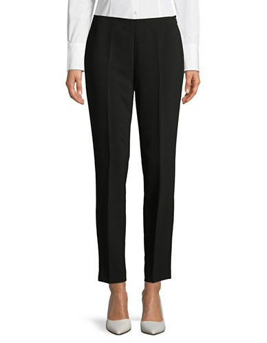 Donna Karan Side-Zip Straight Ankle Pants-BLACK-12