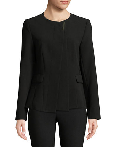 Donna Karan Collarless Crepe Blazer-BLACK-2