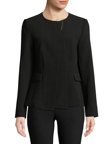 Donna Karan Collarless Crepe Blazer-BLACK-10