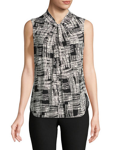 Donna Karan Sleeveless Twist Neck Keyhole Top-BLACK-X-Large