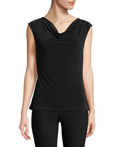 Donna Karan Cowl Neck Sleeveless Top-BLACK-Large