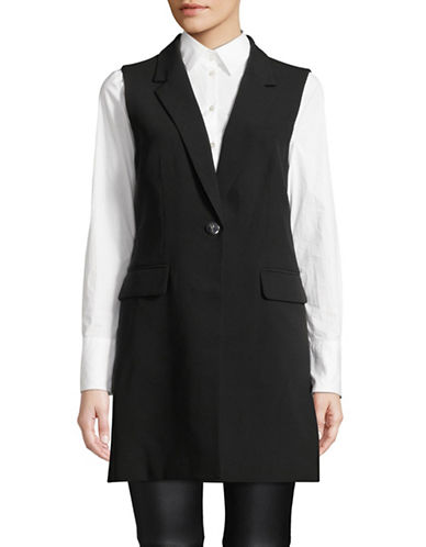 Donna Karan Single-Button Long Vest-BLACK-12