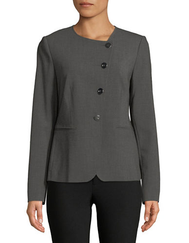 Donna Karan Asymmetrical Buttoned Blazer-GREY-8