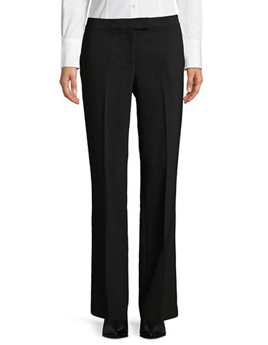 Donna Karan Fixed Waist Wide-Leg Crepe Pants-BLACK-10