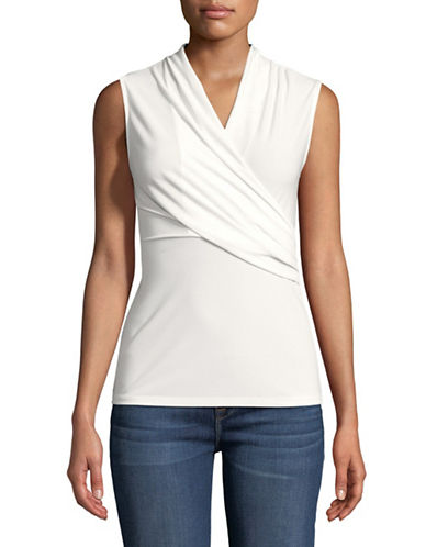 Donna Karan Draped Sleeveless Top-WHITE-Large